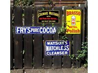 WANTED - old enamel or tin shop and garage advertising signs.