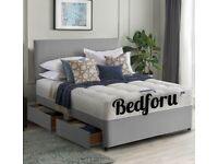 King Size Grey, Black or White Bed With Mattress And Free Headboard.