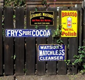 WANTED WANTED - Old pre 1940 enamel or tin shop and garage advertising signs.