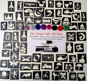 GLITTER-TATTOO-KIT-boys-and-girls-VALUE-74-stencils-8-glitters-1-glue-3-brushes
