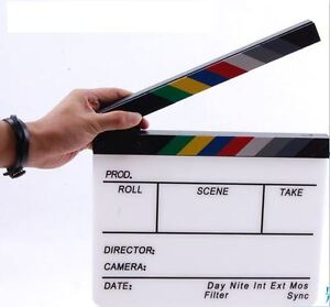 new Action Props ACRYLIC party Clapper board Director TV Film Slate Movie Cut