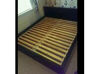 Super kingsize bed with black wooden frame was £500 in ikea see barcode in pics!