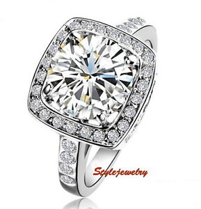 18k White Gold GP Swarovski Crystal Diamond Wedding Engagement Silver Ring _ R54