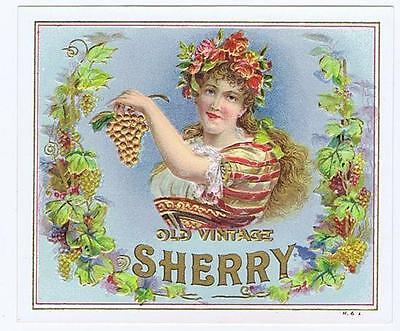 Old Vintage Sherry, woman grapes, H & L original antique embossed label #159