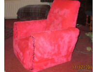 Beautiful childs pink armchair and stool