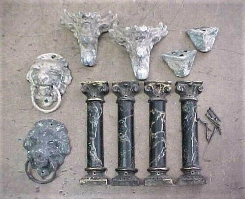 Vintage Mantle Clock Parts Feet - Pillars/Columns - Lion Head Side Ornaments