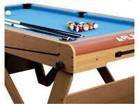BCE Riley 6 x 3Ft pool table with balls, cues, triangle and chalk. Folds flat for storage