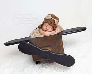 Crochet Baby Aviator Hat with Goggles and Crocheted Scarf, Newbo