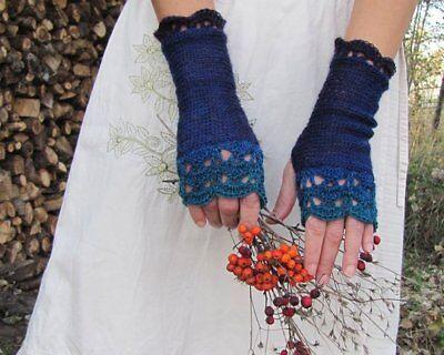Handmade Knit Wool Fingerless Womens Gloves Crochet Edges denim indigo turquoise