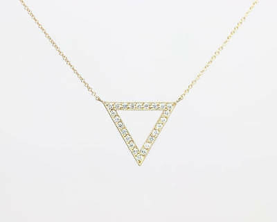 Diamond Triangle Necklace - Diamond Triangle Micro Pave Set Pendant Rolo Chain 14k Rose Geometric Necklace