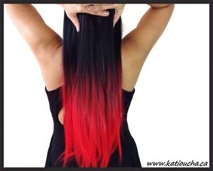 """Clip in hair extension, Straight hair, 60 cm, 24"""", 100g,  RED St. John's Newfoundland image 2"""