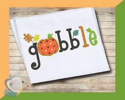 Gobble Words Thanksgiving Applique Machine Embroidery Design  ()