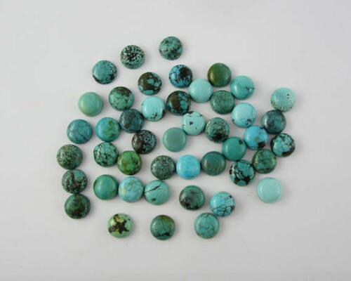 Lovely Lot Natural Tibetan Turquoise 4x4 mm Round Cabochon Loose Gemstone