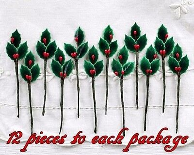 12 Lacquered HOLLY LEAVES w/ BERRIES ARTIFICIAL 3/4