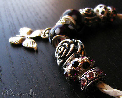 Purple Kids Charm - Purple Butterfly Flower Garden European Charm Bracelet - Child Sizes Available