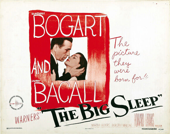 THE BIG SLEEP Movie POSTER 27x40 H Humphrey Bogart Lauren Bacall John Ridgely