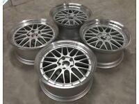 """4 x 19"""" BBS LM style staggered fit alloy wheels. 8.5j & 9.5j 5x112 for VW/Audi or Mercedes."""