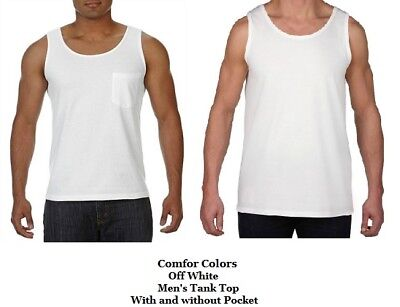 Mens Off White Tank Top Heavy Weight T Tee Shirt Muscle Gym Workout LG 2X 3X - Off Muscle Tee