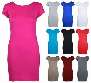 Womens bodycon stretch fitted long top ladies cap sleeve for Women s long sleeve fitted t shirts