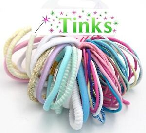 Girls Pretty Pastel 50 Hair Bobbles Bands Elastics Pink Princess White JOBLOT