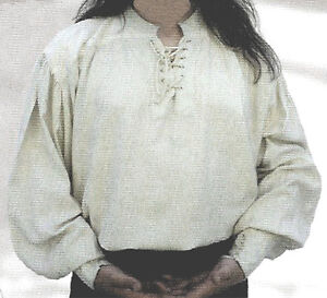 NEW Goth/ Pirate/ Medieval White Cotton Men's Shirt, L
