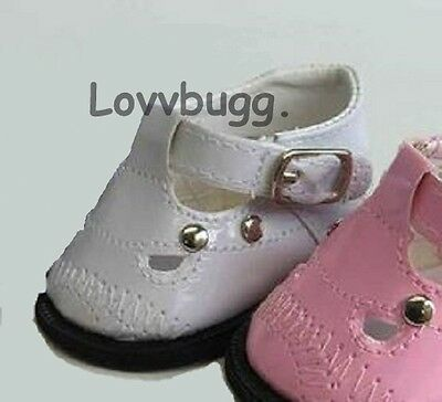 "Lovvbugg White Mary Janes Doll Shoes for 18"" American Girl n Bitty Baby"
