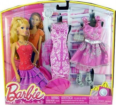 Barbie Doll Clothes & Shoes Set - Night Looks Fashion Pink Dress & Outfits