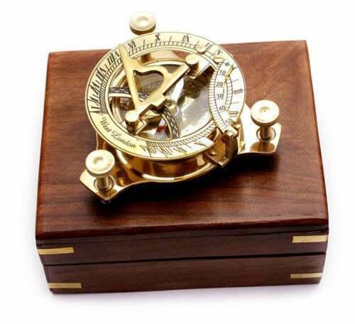 Brass Marine Nautical Sundial Compass West London Maritime With Anchor Box