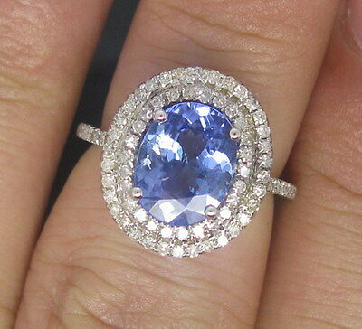 JEWELRY SET 14K WHITE GOLD VIOLET BLUE TANZANITE ENGAGEMENT VS DIAMOND RING