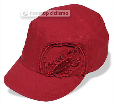 c4fc6e91450e5 Castelli M CAP Distressed Scorpion Logo Cycling Baseball Podium Cap RED One  Size