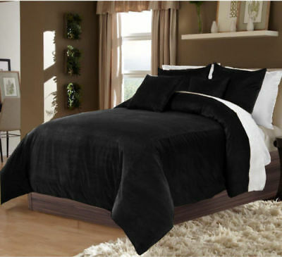 5 PC Amazing Reversible Full/Queen Size  Black & White Velvet Duvet Cover Set  (Awesome Queen Size Bedding)