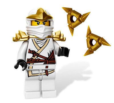 LEGO NINJAGO MINIFIGURE ZANE ZX GOLD ARMOR SHURIKEN THROWING STAR WHITE NINJA