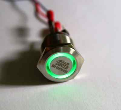 "LED Starterknopf grün Start Knopf Startknopf Motorsport 22 mm ""Engine start stop"