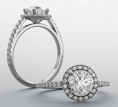 GIA 1.00 carat Round Diamond Engagement Wedding 14k White Gold Halo Ring G VS1