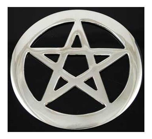 "Pentagram Pentacle Silver-Plated 4"" Altar Tile Charm Talisman Ritual Magick"