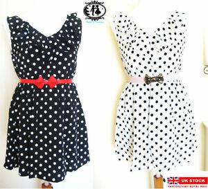 LADIES-POLKA-DOT-DRESS-SKATER-TEA-TUNIC-BLOUSE-TOP-SUMMER-SHIRT-VINTAGE-SHOP-SML