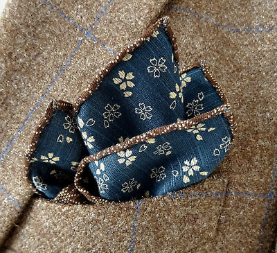 Blue/ Brown Double-Sided Japanese Cotton Handkerchief - Pocket Square - Handmade