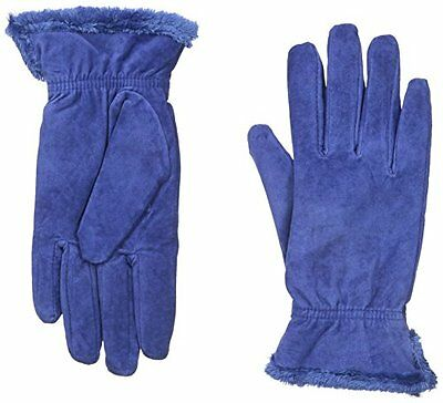 NEW Isotoner Women's Microluxe Pigsplit Glove with Gathered Wrist, Royal, Medium