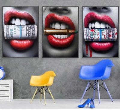 3 Piece Canvas Art - Lips with Money and Bullets 3 Piece Canvas Wall Art Picture Painting Home Decor