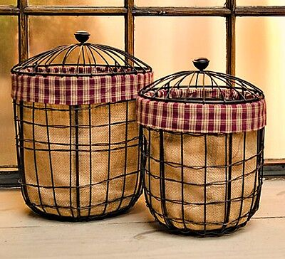 New Country Primitive Rustic 2 Wire Basket Canister Lid Burlap Burgundy Homespun