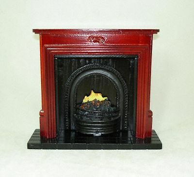 Dollhouse Miniature Mahogany Fireplace with Flames 1:12 Doll House Miniatures