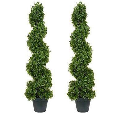 2 TOPIARY 3' ARTIFICIAL OUTDOOR TREE UV BOXWOOD SPIRAL CEDAR PINE DECOR PATIO