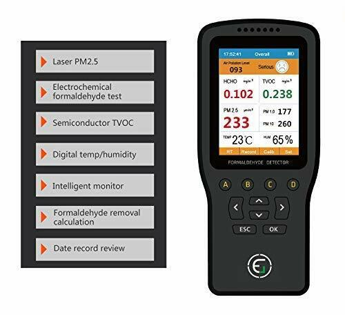 Air Quality Pollution Monitor, Formaldehyde Detector, Temp & Humidity Meter
