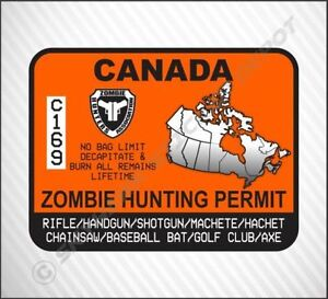 Zombie hunting Permit Vinyl Decal Sticker Honda Acura Ford Jeep