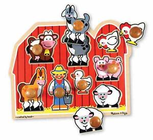 """Melissa & Doug"" Large Farm Jumbo Knob Puzzle - 8 pieces"