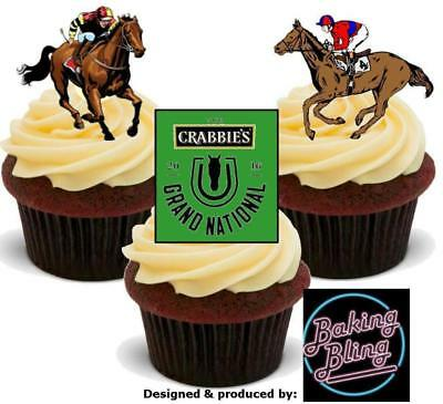 12 Novelty Horse Racing Grand National Theme Edible Cake Toppers - Horse Racing Cake Decorations