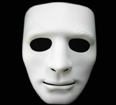 Halloween Party Full Face Cosplay Mask Costume Prop White Blank Face Hipa Dance