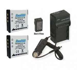Two-2-DLi68-DL-i68-1100mAh-Batteries-Battery-Charger-for-Pentax-S10-S12-Q