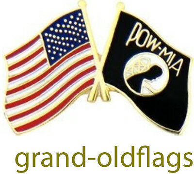 POW/MIA Symbol and United States Flag Hat or Lapel Pin 7/8''