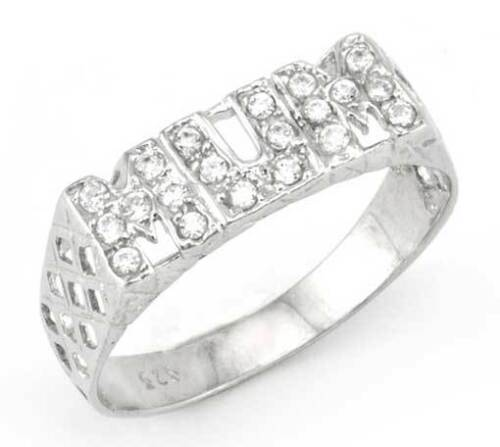 Sterling Silver Mum Ring Big Sizes Cubic Zirconia Cz Mummy Mother